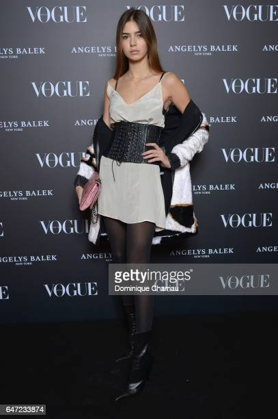 Helena Gatsby arrives at the Vogue Thailand Angelys Balek Cocktail Dinner as part of Paris Fashion Week Womenswear Fall/Winter 2017/2018 at Loulou...