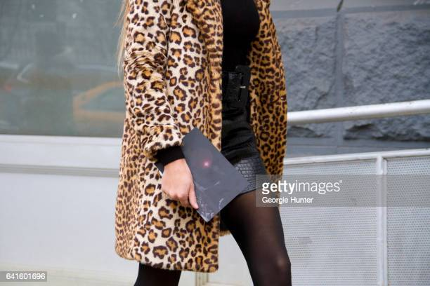 Helena Gatsby is seen at Spring Studios outside the Lacoste show wearing leopard print coat on February 11 2017 in New York City