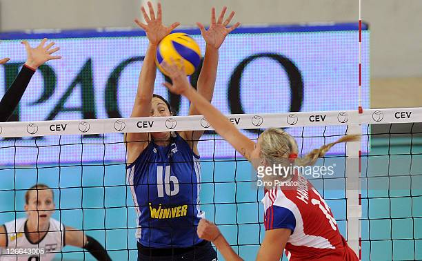 Helena Havelkova of Czech Republic drops a shot against Tatiana Artmenko of Israel during the Women's Volleyball European Championship match between...