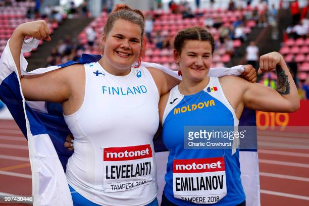 Helena Leveelahti of Finland and Alexandra Emilianov of Moldova celebrate after winning medals in the final of the women's discus on day three of The...