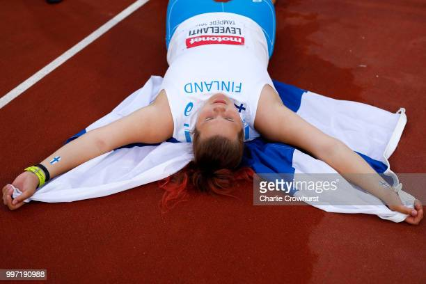 Helena Leveelahti of Finland celebrates winning silver in the final of the women's discus on day three of The IAAF World U20 Championships on July 12...