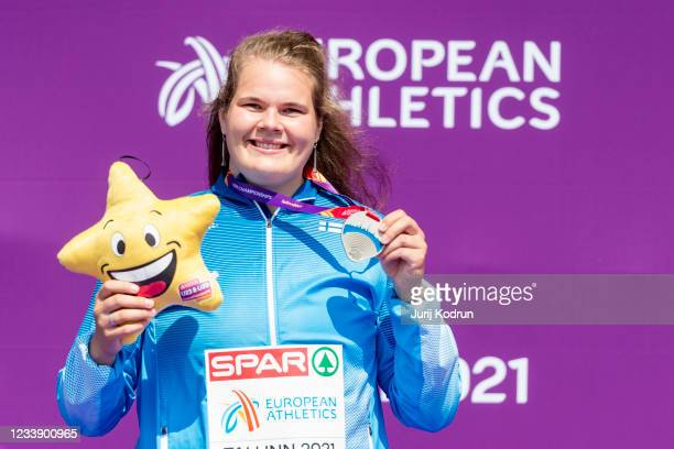 Helena Leveelahti of Finland poses with her medal after the women's discus throw final during day three of the 2021 European Athletics U23...