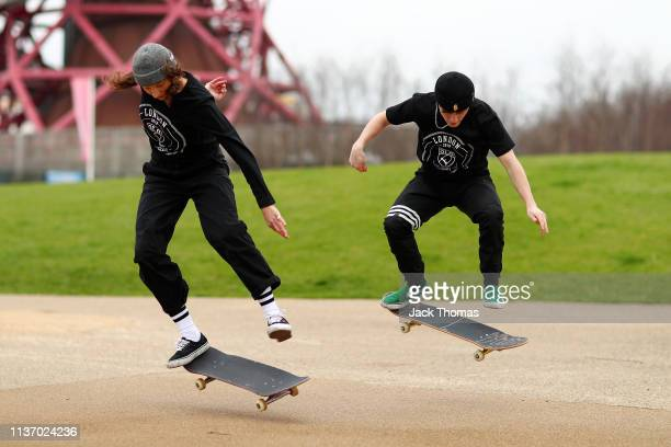 Helena Long and Alex Decunha perform a trick during the Street League Skateboarding World Tour Media Launch Event at Queen Elizabeth Olympic Park on...