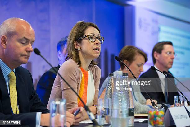 Helena Morrissey chief executive officer of Newton Capital Management Ltd second left speaks during a panel discussion at the City Week International...