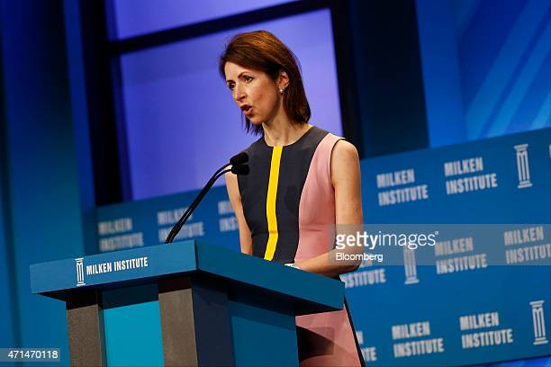 Helena Morrissey founder of the 30 Percent Club and chief executive officer of Newton Capital Management speaks during the annual Milken Institute...