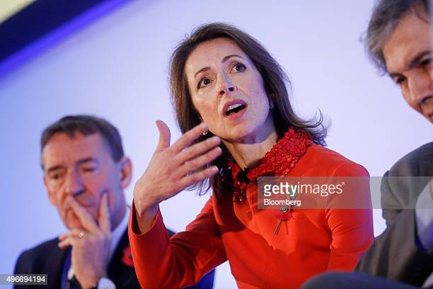 Helena Morrissey founder of the 30 Percent Club and chief executive officer of Newton Capital Management reacts at the Bank of England Open Forum at...