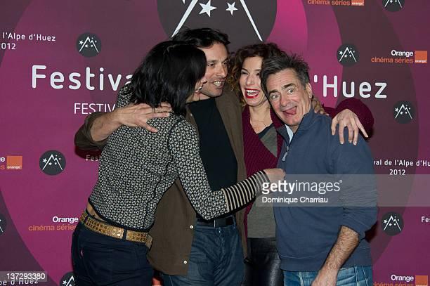 Helena Nogera Bruno Salomone Anne Depetrini and Artus de Penguern attend 'La Clinique De L'Amour' Photocall during the 15th L'Alpe D'Huez...