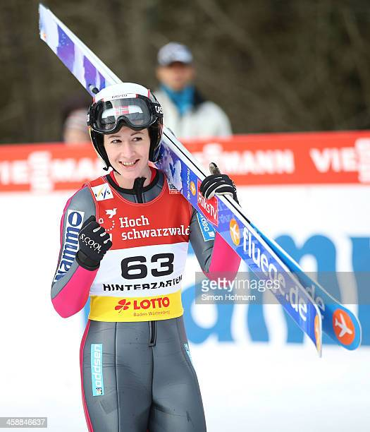 Helena Olsson Smeby of Norway celebrates after the second jump at the Ladies Ski Jumping HS 108 during the FIS Women's Ski Jumping on December 22...