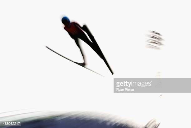 Helena Olsson Smeby of Norway jumps during the Ladies' Normal Hill Individual Ski Jumping training on day 2 of the Sochi 2014 Winter Olympics at...