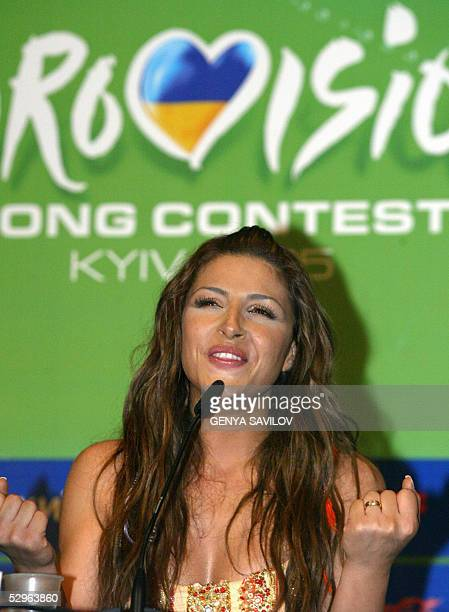 Helena Paparaizou of Greece winner of 50th Eurovision Song Contest speaks during a press conference in Kiev 22 May 2005 Paparaizou who won for her...