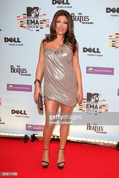 Helena Paparizou arrives at the 2009 MTV Europe Music Awards at the O2 Arena on November 5 2009 in Berlin Germany