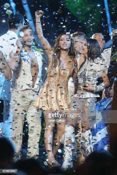 Helena Paparizou of Greece celebrates after winning the Eurovision Song Contest Grand Final while standing next to previous year's winner Ruslana at...
