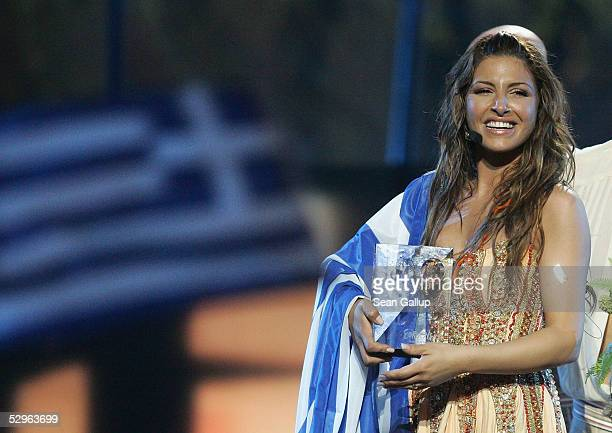 Helena Paparizou of Greece celebrates after winning the Eurovision Song Contest Grand Final hosted by the previous year's winner at Palace Of Sports...