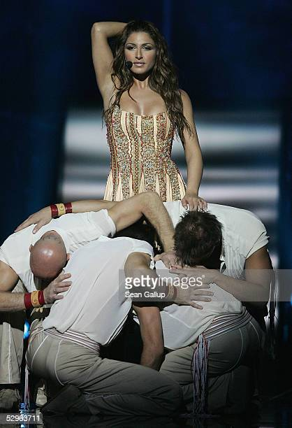 Helena Paparizou of Greece peforms before winning the Eurovision Song Contest Grand Final hosted by the previous year's winner at Palace Of Sports on...