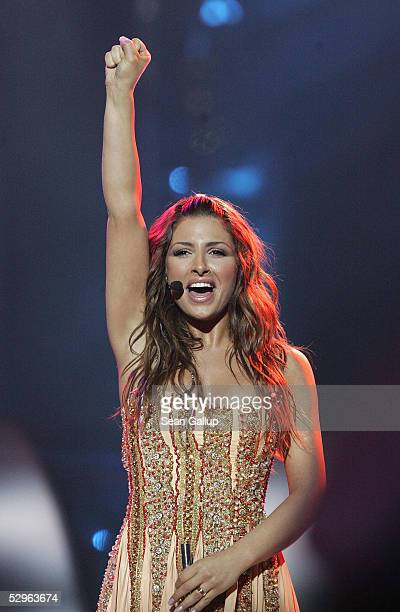 Helena Paparizou of Greece performs before winning the Eurovision Song Contest Grand Final hosted by the previous year's winner at Palace Of Sports...