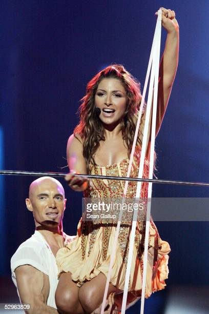 Helena Paparizou of Greece performs before winning the Eurovision Song Contest Grand Final at Palace Of Sports on May 21 2005 in Kiev Ukraine This...