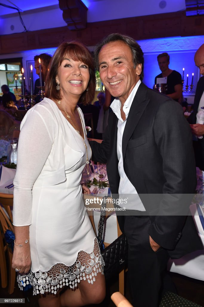 Helena Roth and actor Bruno Maccallini during the dinner Royal at the Gruenwalder Einkehr on July 12, 2018 in Munich, Germany.