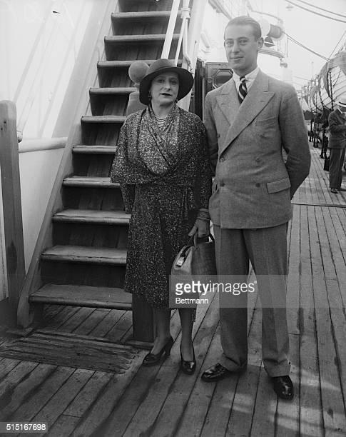 Helena Rubenstein and son aboard the SS Mauretania