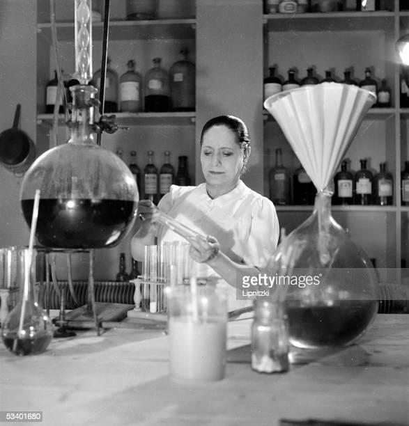 Helena Rubinstein American aesthetician in her laboratory SaintCloud 19391940