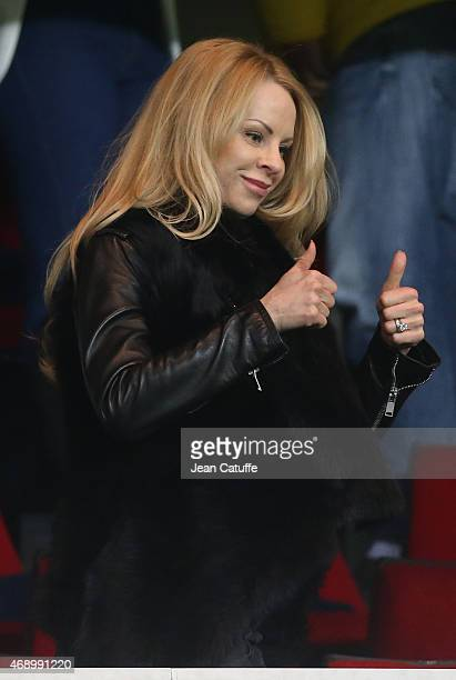 Helena Seger celebrates the three goals scored by her husband Zlatan Ibrahimovic at the end of the French Cup semifinal match between Paris...