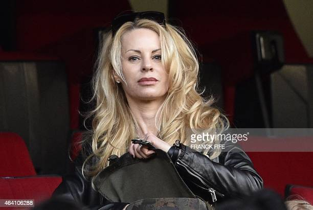 Helena Seger wife of Paris SaintGermain's Swedish forward Zlatan Ibrahimovic attends the French L1 football match between Paris SaintGermain vs...