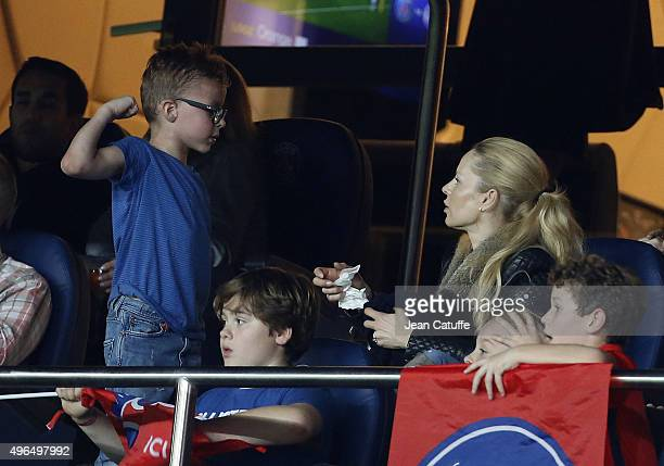 Helena Seger wife of Zlatan Ibrahimovic and their son Vincent Ibrahimovic attend the French Ligue 1 match between Paris SaintGermain and Toulouse FC...