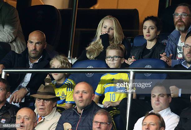 Helena Seger wife of Zlatan Ibrahimovic and their sons Maximilian Ibrahimovic and Vincent Ibrahimovic look on during the UEFA Champions League match...