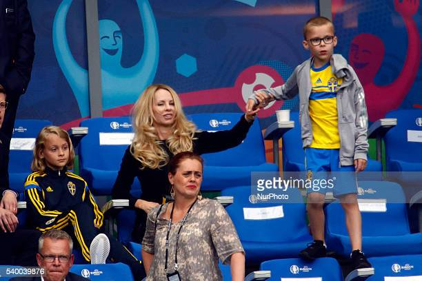 Helena Seger wife of Zlatan Ibrahimovic and their sons Maximilian Ibrahimovic and Vincent Ibrahimovic look on during the UEFA EURO 2016 Group E match...