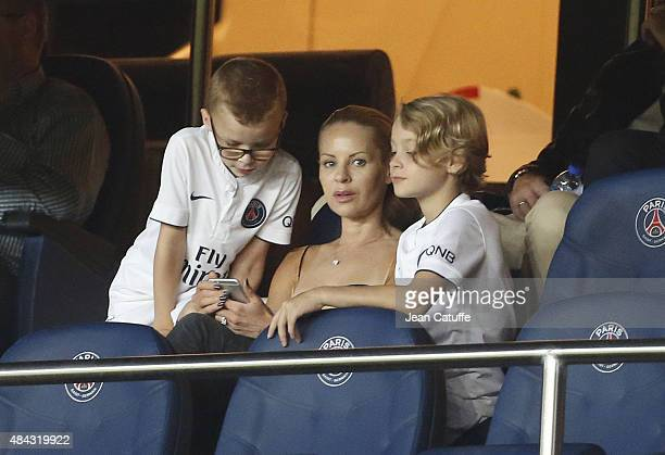 Helena Seger wife of Zlatan Ibrahimovic and their sons Vincent Ibrahimovic and Maximilian Ibrahimovic attend the French Ligue 1 match between Paris...