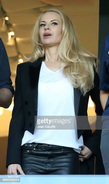 Helena Seger wife of Zlatan Ibrahimovic attends the French League 1 match between Paris SaintGermain and Stade Malherbe de Caen at Parc des Princes...