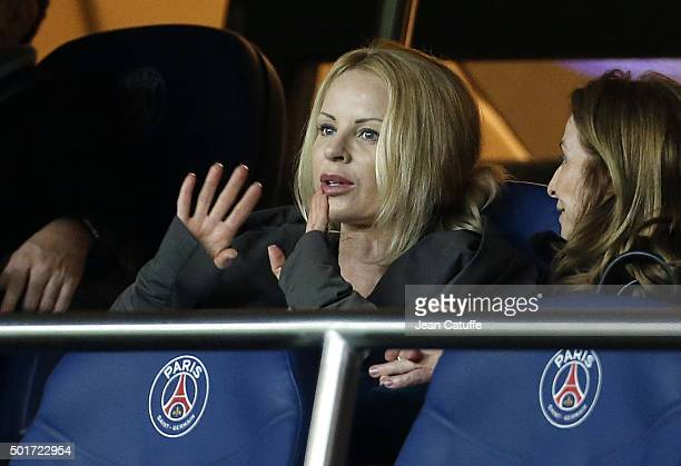 Helena Seger wife of Zlatan Ibrahimovic attends the French League Cup match between Paris SaintGermain and AS SaintEtienne at Parc des Princes...