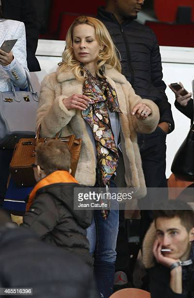 Helena Seger wife of Zlatan Ibrahimovic attends the French Ligue 1 match between Paris SaintGermain FC and RC Lens at Parc des Princes stadium on...