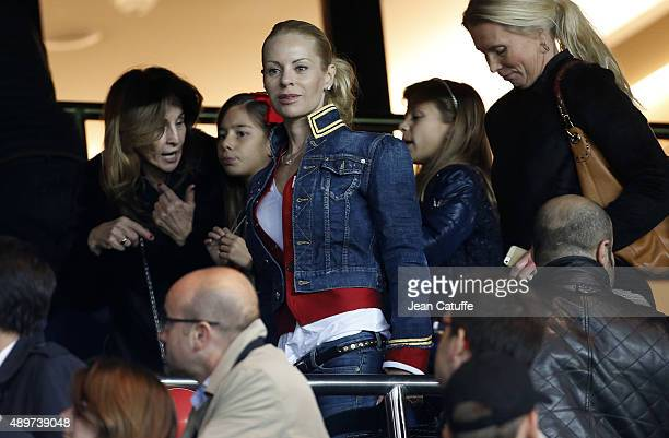 Helena Seger wife of Zlatan Ibrahimovic attends the French Ligue 1 match between Paris SaintGermain FC and EA Guingamp at Parc des Princes stadium on...