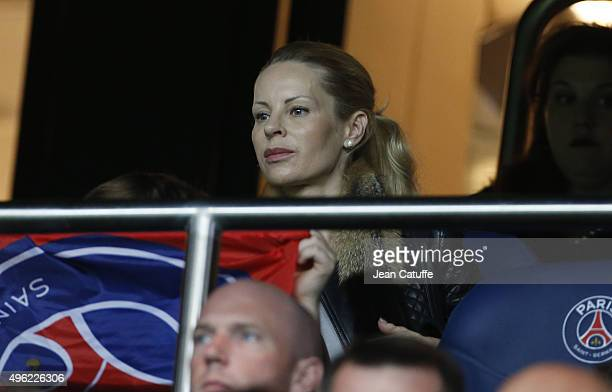 Helena Seger wife of Zlatan Ibrahimovic attends the French Ligue 1 match between Paris SaintGermain and Toulouse FC at Parc des Princes stadium on...