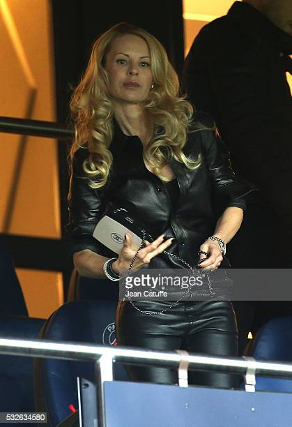 Helena Seger wife of Zlatan Ibrahimovic attends the French Ligue 1 match between Paris SaintGermain and FC Nantes at Parc des Princes stadium on May...