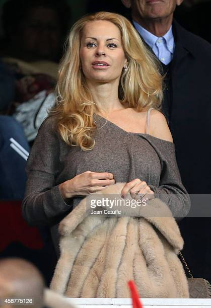Helena Seger wife of Zlatan Ibrahimovic of PSG attends the French Ligue 1 match between Paris SaintGermain FC and Olympique de Marseille OM at Parc...