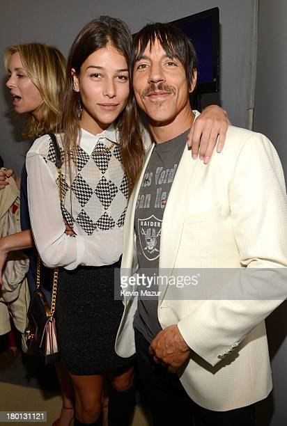 Helena Vestergaard and Anthony Kiedis backstage at Tommy Hilfiger presents Spring 2014 Women's Collection backstage at Pier 94 on September 9 2013 in...