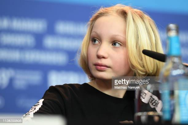 Helena Zengel attends the System Crasher press conference during the 69th Berlinale International Film Festival Berlin at Grand Hyatt Hotel on...