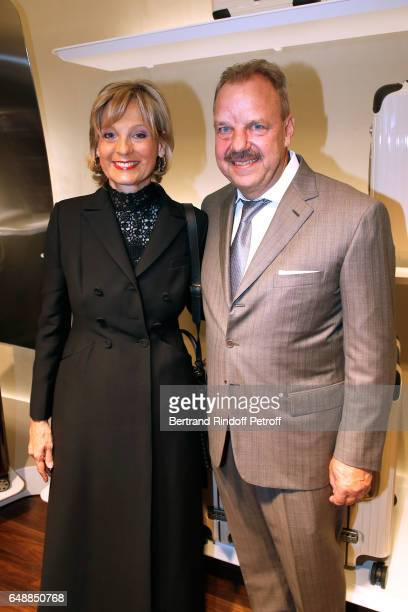 Helene Arnault and President and CEO of Rimowa Dieter Morszeck attend the Opening of the Boutique Rimowa 73 Rue du Faubourg Saint Honore in Paris on...