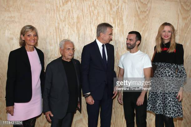 Helene Arnault Architect of the Louis Vuitton Foundation Frank Gehry Owner of LVMH Luxury Group Bernard Arnault Stylist of Vuitton Nicolas Ghesquiere...