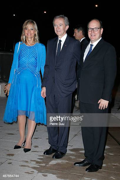 Helene Arnault, Bernard Arnault and Prince Albert II of Monaco attend the Foundation Louis Vuitton Opening at Foundation Louis Vuitton on October 20,...