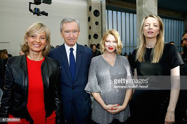 Helene Arnault, her husband Owner of LVMH Luxury Group Bernard Arnault, actress Lea Seydoux and Louis Vuitton's executive vice president, Delphine...