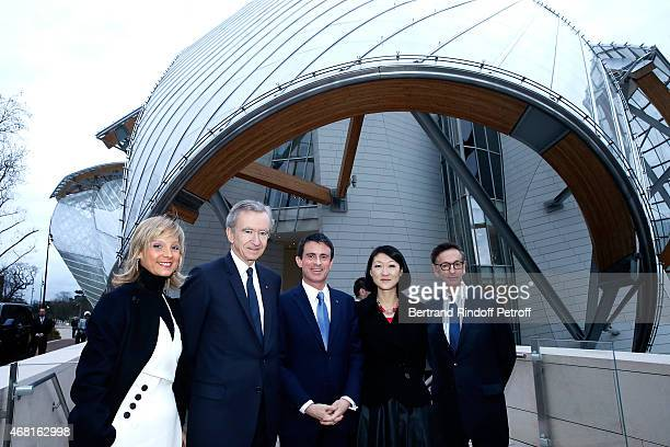 Helene Arnault, her husbant Owner of LVMH Luxury Group Bernard Arnault, French Prime Minister Manuel Valls, French minister of Culture and...