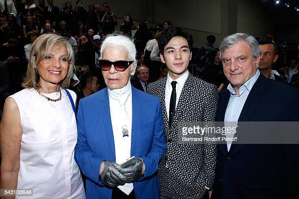 Helene Arnault, Karl Lagerfeld, Grit Jirakiertivadhana and CEO Dior Sidney Toledano attend the Dior Homme Menswear Spring/Summer 2017 show as part of...