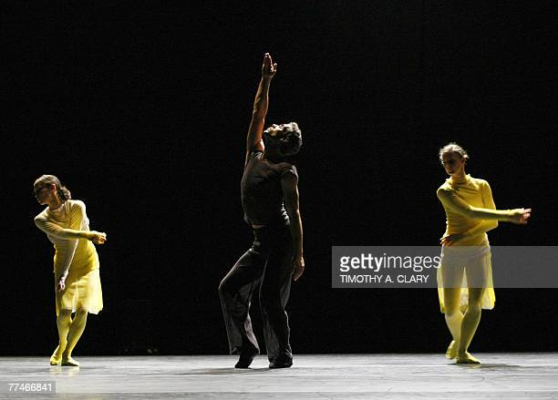 Helene Bourbeillon Loris Bonani Cecile Robin Prevallee with the Ballet Du Grand Theatre De Geneve performs ParaDice during a dress rehearsal before...
