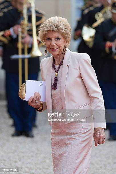 Helene Carrere d'Encausse arrives for the State Dinner at the State Dinner offered by French President François Hollande at the Elysee Palace on June...