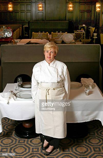 Helene Darroze chef poses in the restaurant at the Connaught Hotel in London UK on Monday July 14 2008 Darroze one of the leading chefs in Paris...