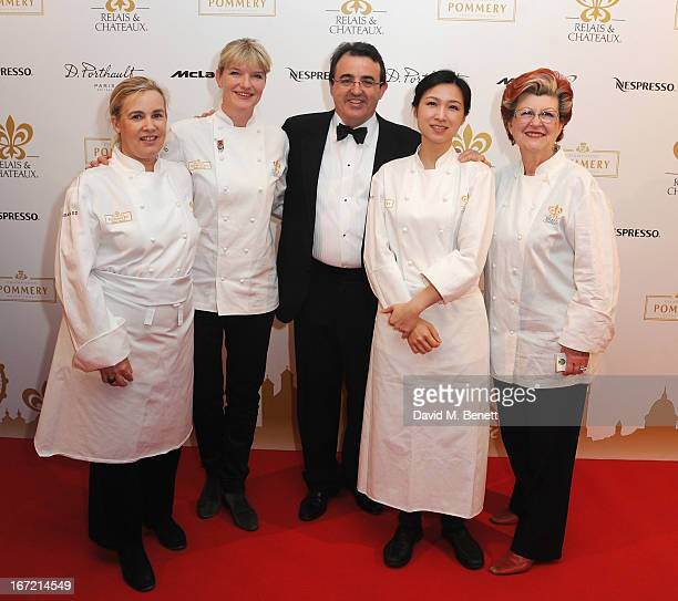 Helene Darroze Margot Janze Jaume Tapies Lanshu Chen and Annie Feolde attend Relais Chateaux's 'Diner des Grands Chefs London 2013' in aid of Action...