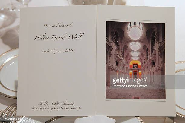 Helene DavidWeill's menu card is seen prior to a dinner in honor of Helene DavidWeill who presided through 1994 2012 Les Arts Decoratifs one of the...