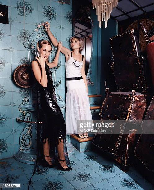Helene de Fougerolles and Director Julie Lipinski presenting evening dresses for the eve of New Year's Day in PARIS Helene Castel posing in fishnet...